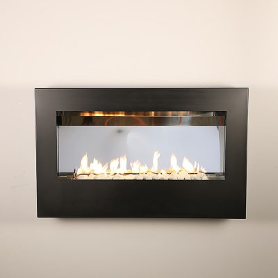 Gas wall mounted fireplace – Black frame