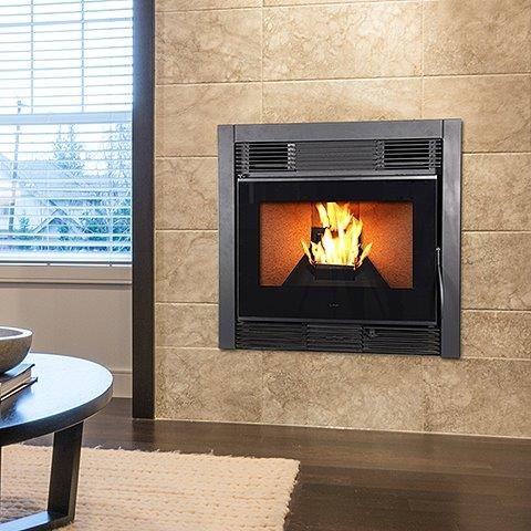 Gravity Fed Wood Pellet Insert Fireplace 12kW