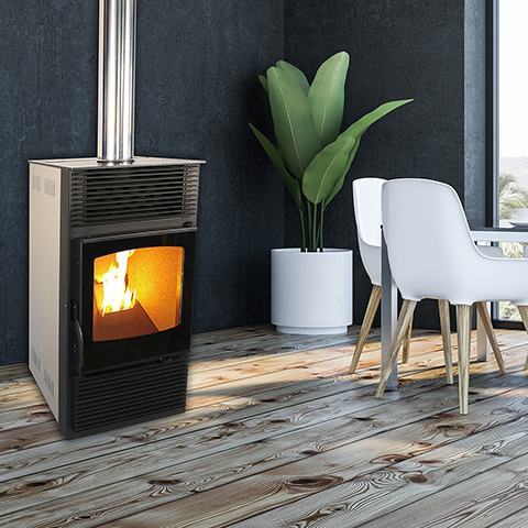 Gravity feed wood pellet fireplace stove 8kW