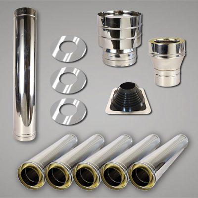 Stainless Steel Flue Kit | Double Story | 150mm